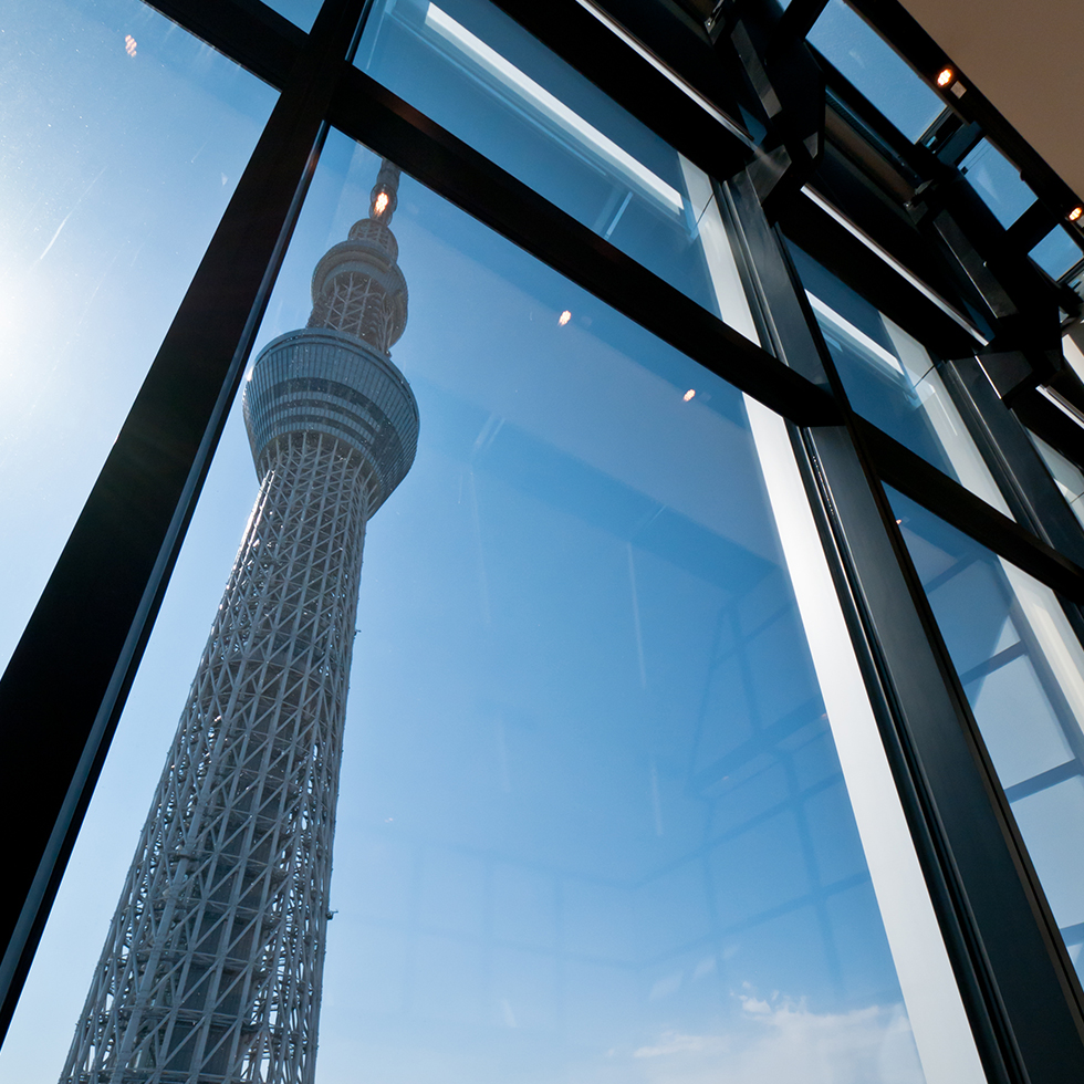 Floor to ceiling windows showcase the awesome beauty of the Skytree